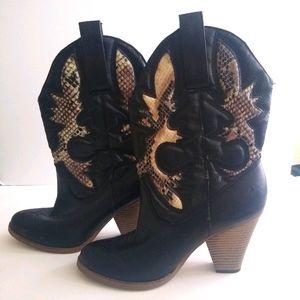 MIA Girl Laurene faux snake skin boots